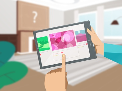Choosing wall art on tablet technology explainer characters explainer video animation