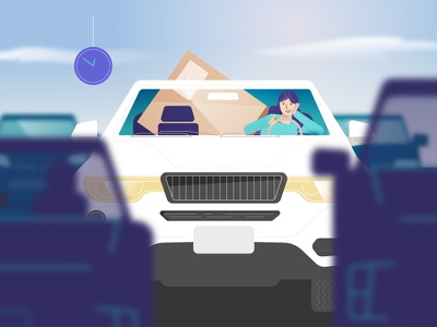 Stuck in Traffic car technology explainer illustration characters explainer video animation