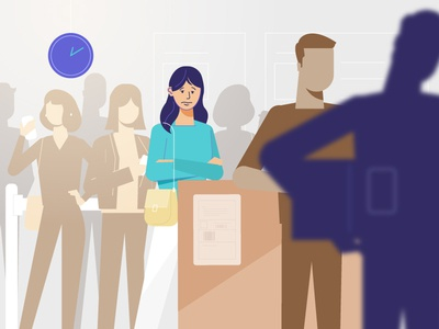 Standing in Queue retail technology illustration explainer characters explainer video animation