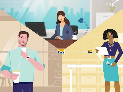Sharing with friends mobile character technology illustration characters explainer video animation