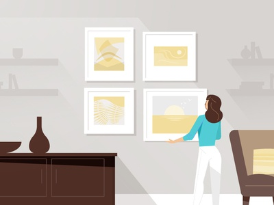 Gallery Wall wall art technology illustration characters explainer video animation