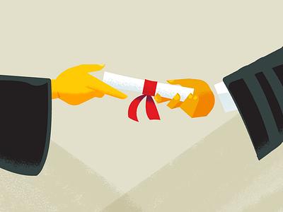 Handing Diploma graduation education illustration characters explainer video animation