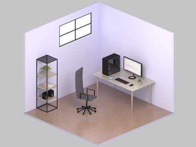 Isometric Office scandinavian clean desk computer blender 3d office isometric
