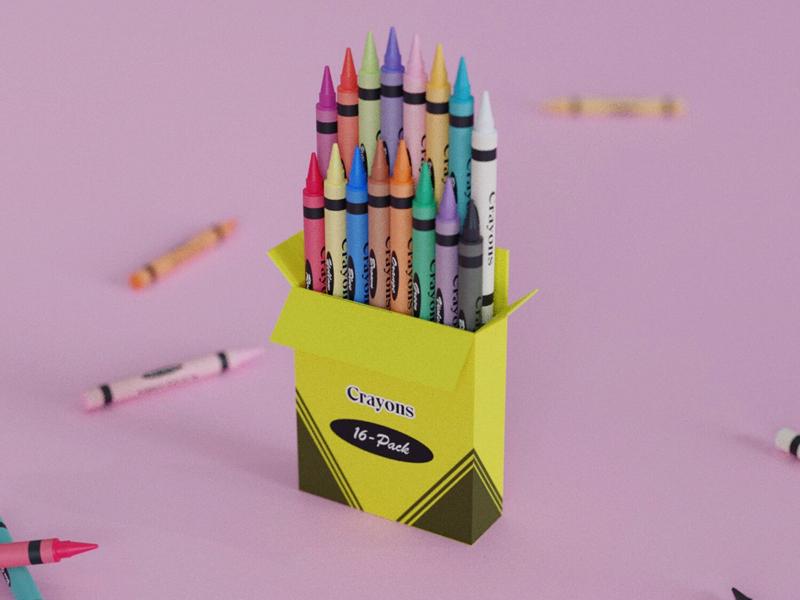 Box of Crayons color crayons render 3d blender
