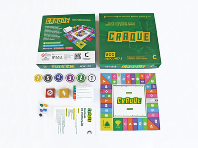 Craque boardgame token quiz player card player stadium soccer packaging logo icons game design game board board game