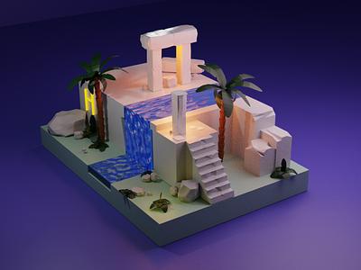3d island gif model modeling cinema4d branding logo illustration design blender animation motion graphics graphic design 3d