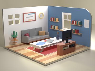 isometric 3d room logo branding design illustration gif cinema4d blender motion graphics graphic design animation 3d