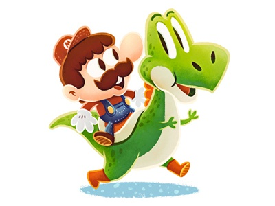 Super Mario & Yoshi super mario yoshi nintendo illustration