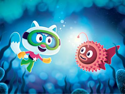 Under Water illustration tekenclub fish sea under water greeting card