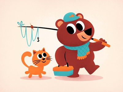 Fishing Bear & Cat cat bear fishing illustration