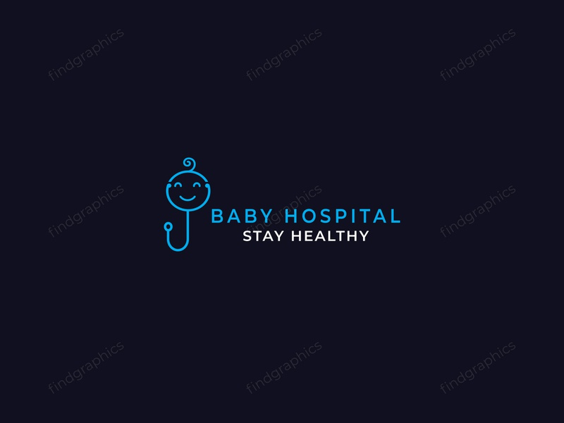 Baby hospital logo design - flat logo design - baby health logo health logo healthcare medical logo baby hospital morden modern flat logo flat logo design logomark logos logotype logo logo a day illustraion design branding brand identity abstract