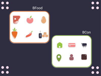 Bfood & Bcon icon logo illustration design flat