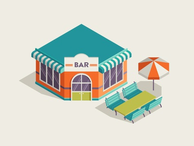 Bar illustration vector umbrella terrace bar town isometric building