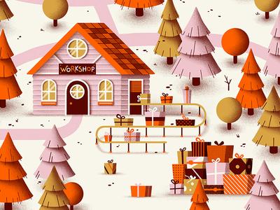 Santa's Workshop woods nature tree presents gifts winter workshop cabin christmas santa claus santa
