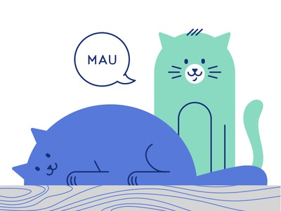 Mau purr flat vector illustration character cute animal cat