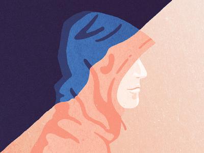 Transition character light editorial illustration hoodie man