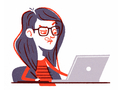 Selfie #3 glasses portrait drawing laptop girl character illustration selfie