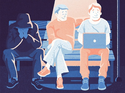 Exclusion outcast neets bench light society laptop man characters editorial illustration