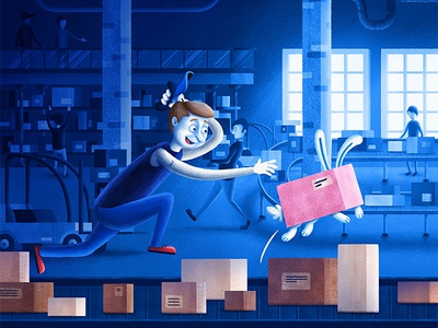 The incident character illustration conveyor rabbit man courier box storage warehouse delivery