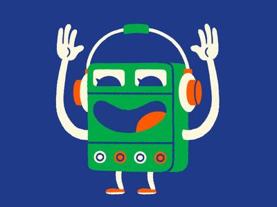 The walkman party dance fun sound music headphones walkman character illustration