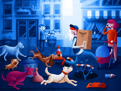 The Neighbourhood Race race town buildings dogs delivery mail package courier advertising illustration