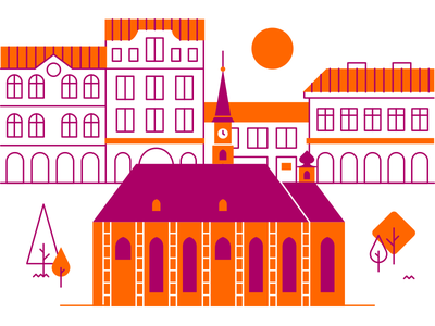 Cluj house minimal line vector illustration buildings town church city map cluj