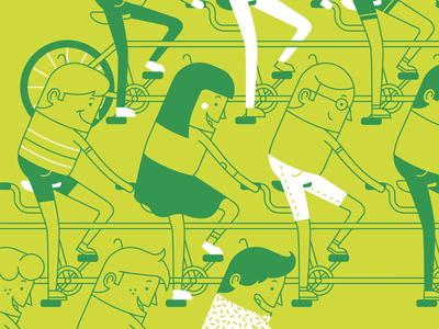 Tandem ing sport bicycle monoline geometric people fun tandem bike character illustration