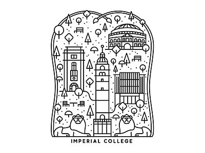 Imperial campus building tree lion london school college imperial monoline illustration