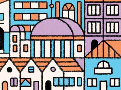 Town WIP simple buildings grid clean geometric line illustration town city