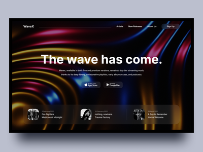 WaveX music clean wave web ui