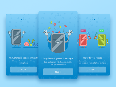 Game Onboarding social chat share emotions mobile characters illustration games ukraine ux ui
