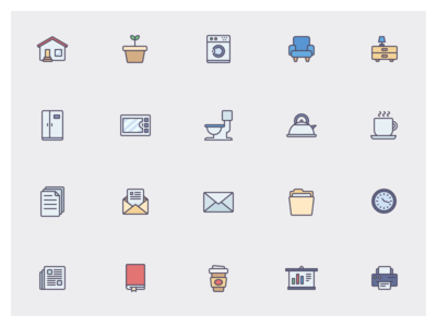 Full colored Icons set ui illustrations icons
