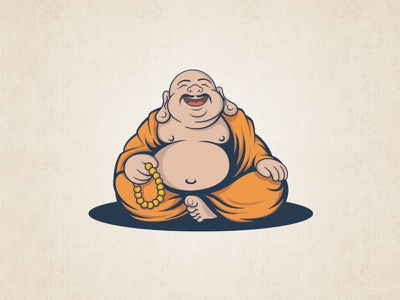 Dribbble Buddha With Mustaches buddha mustaches monk mascot logo design illustrations vector