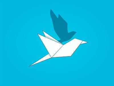 paper Bird bird white shadow blue papercraft paper art origami vector illustration abstract illustrator graphics design