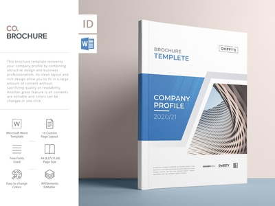 2020 Company Profile, Word Template branding word template annual report report cover indesign template company profile brochure layout brochure template brochure design