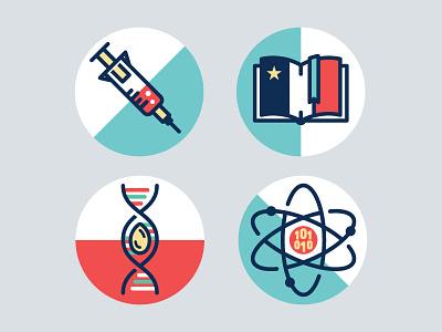 Trailblazer Icons pt.1  flat illustration needle quantum dna book icons researchers