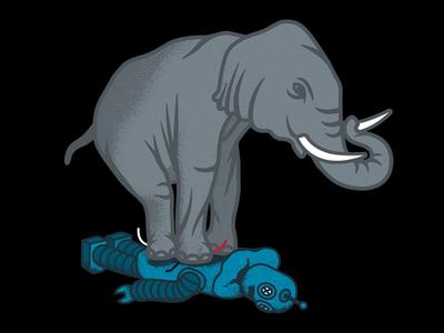 Elephant > Robot fun tusk illustration texture retro robot elephant