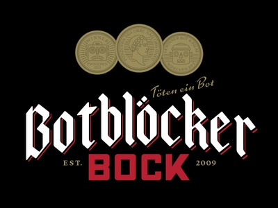 Botblocker Bock identity lettering logo german bock robots coins beer