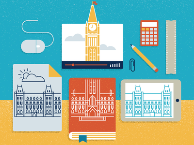 Parliament Education calculator mouse video book pencil illustration collage design ottawa parliament