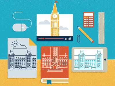 Parliament Education calculator mouse video book pencil illustration collage design ottawa parliament