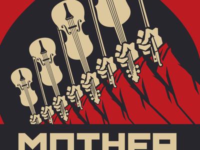 Snapshot of a WIP bow propaganda illustration poster music violin russia kremlin