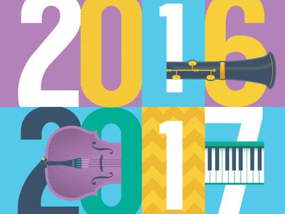 2016/17 illustration brochure colour zigzag cello clarinet music