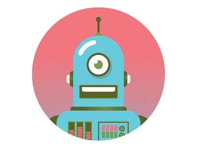 RoboDude antenna dials fun illustration halftone retro robots