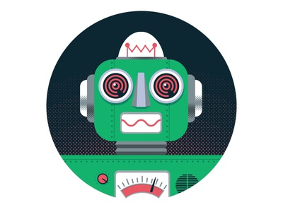 Robo #2.0 chrome dome illustration retro texture halftone robot