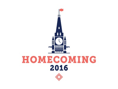 HOMECOMING 2016 peace tower homecoming word mark logo flag design ottawa parliament