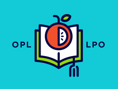 Food Literacy logo illustration fork bookmark book seeds apple icon food