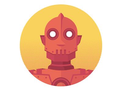 Another Robodude fun texture retro illustration halftone chrome metal robot