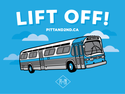 PITT AND 2ND Website Launch design illustration citybus screenprint bus