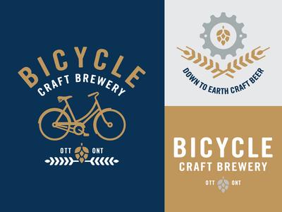 Bicycle Craft Brewery branding identity logo barley hops cog bicycle craft beer