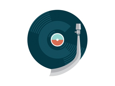 Character + Vinyl illustration tone arm music fun branding logo icon record vinyl